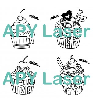 Cupcake lot de 4  vectoriel...