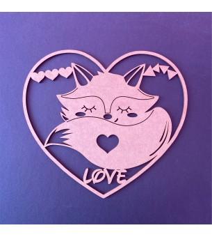 Cadre coeur avec renard